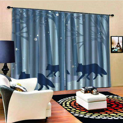 Wolf Flock Curtain Woodland Autumn Forest Decorative Curtain 170*200cm u1