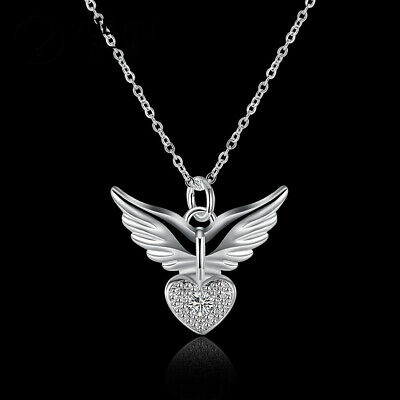 Women Fashion Pendant Silver Chain Love Heart Necklace Crystal Angel Wing