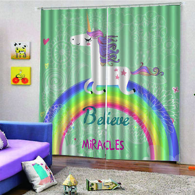 Horse Curtain On The Rainbow 150*166 Home Bedroom Hotel Decorative Curtain u1