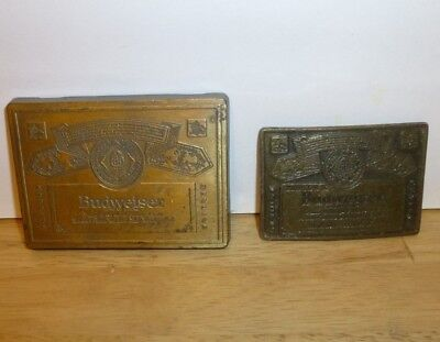 2 Vintage 1970s Genuine Budweiser Beer Belt Buckles King of Beers
