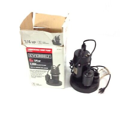 Everbilt 1/4 HP Submersible Sump Pump with Tether 3000 Gallons Per Hour