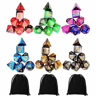 42Pcs Polyhedral D4-D20 Dice For TRPG Board Game Dungeons Dragons DND RPG UU