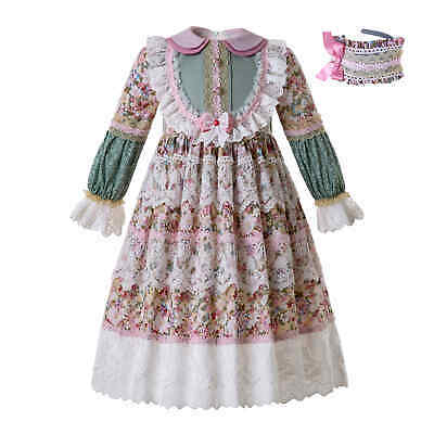 Girls Floral Dress Lace Muslim Formal Occasion Bridesmaid Party Wedding Outfits