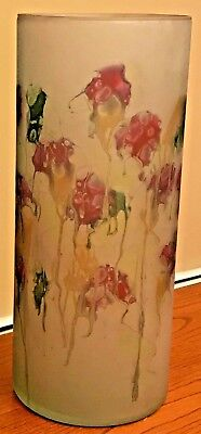 """Vintage Art Glass Vase Israel Hebron LARGE 12""""x5"""" Hand Painted Red Green Yellow"""