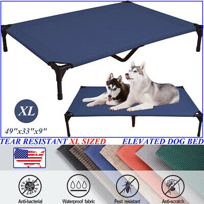 VEEHOO Extra Large BLUE Elevated Dog Beds Pet Cot Raised Cooling Lounger Hammock