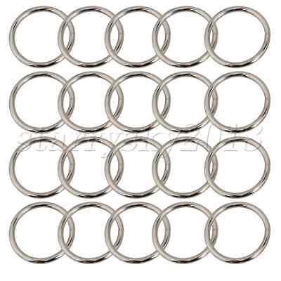 20pcs 3.8cm Silver Metal Webbing O Rings Buckles Adjusters Circle Leather Craft