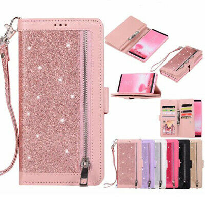 Luxury Bling Glitter Zipper Leather Wallet Case Cover For iPhone XR /Samsung S10