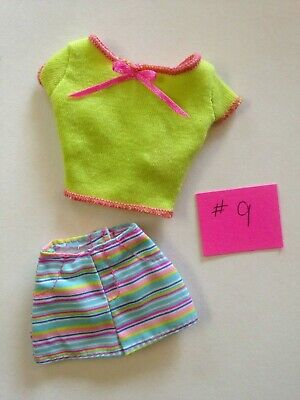 #9 THINKPINK Barbie Fashion Outfit Top Shirt Shorts green stripes Summertime