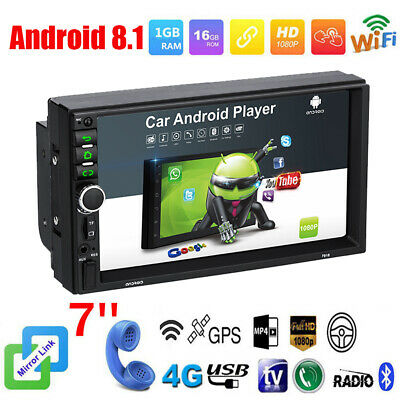 "Android 8.1 BT 2 DIN Quad Core Car Stereo Radio GPS Wifi 7"" HD Touch FM MP5 Unit"