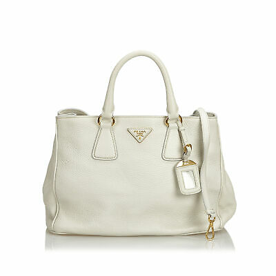 12a98fa1b7 ORIGINALE PRADA BIANCO Vitello Daino Borsa Shopper in pelle Italia ...
