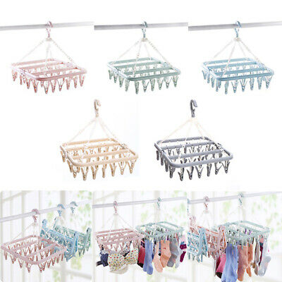 1*Useful 32Pegs Dryer Rack Plastic Foldable Sock Clothes Airer Hanger Clip Clamp