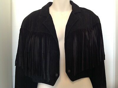 black suede fringed crop jacket womens retro 80s festival style size 12