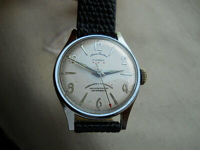 Nice Vintage,1945  Andre Bouchard Watch,17 Jewels Chrome/ss, Keeps Perfect Time