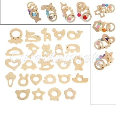 1Pc/3Pcs Organic Eco-Friendly Wood Gift Wooden Teether Nature Baby Teething Toy