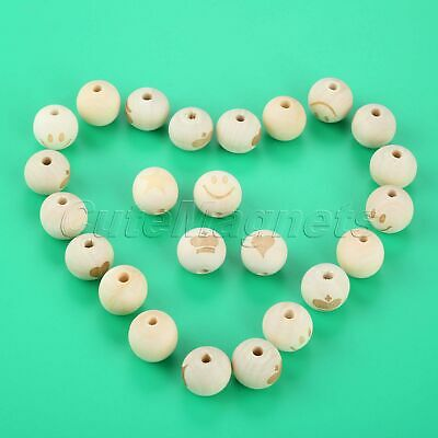 20Pcs Round Natural Wood Beads 4 Pattern 4mm Hole Baby Child Teether Wooden Bead