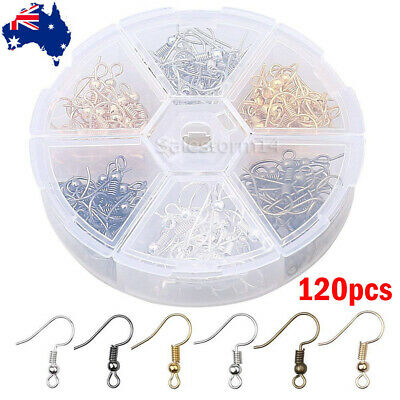 120PCS DIY Jewelry Making Findings Earring Hook Coil Ear Wire Gold Sliver HOT
