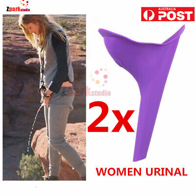 2x Portable Ladies Female Woman Urinal Urine Wee Funnel Camping Travel Loo AU