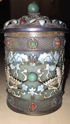Antique Chinese Tea Caddy Box Silver Filigree Jade Interior Enamel White Cranes