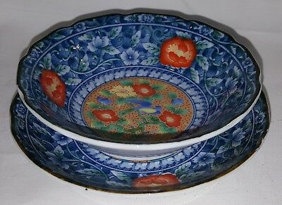 Chinese blue & red vintage Art Deco oriental antique shallow bowl & saucer