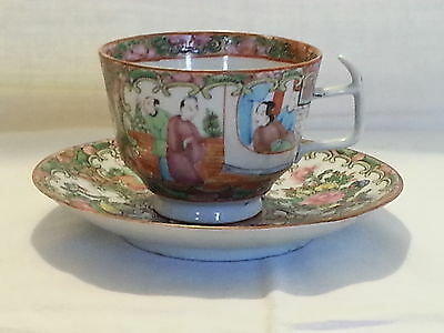 Chinese Cantonese Famile verte vintage Victorian 19th century antique cup saucer