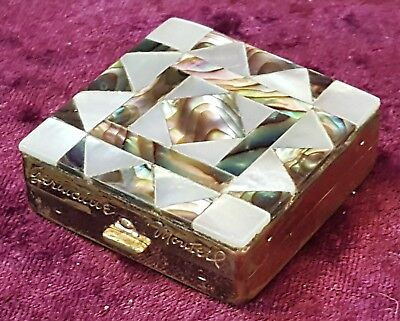Mother of pearl & brass vintage Art Deco antique small square powder compact box