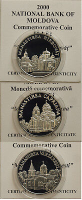 MONASTERIES of MOLDOVA Whole complete year 2000 set of 20 Silver coins with COA