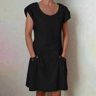 Ladies Short Sleeve Crew Neck Casual Wear With Pocket Loose Short Dress LH