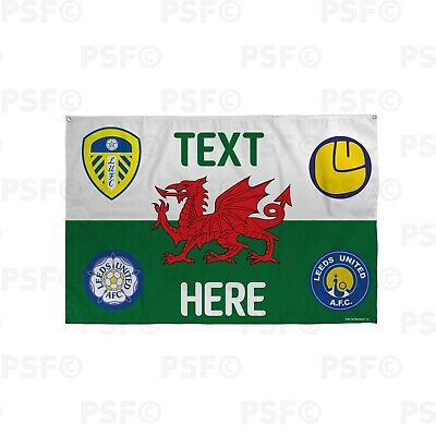 Leeds United FC Official Personalised Wales Flag Welsh Dragon LUFC Crests Banner