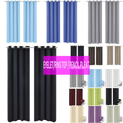Thermal Blackout Curtains Ready Made Eyelet Ring Top / Pencil Pleat Tie Backs Uk