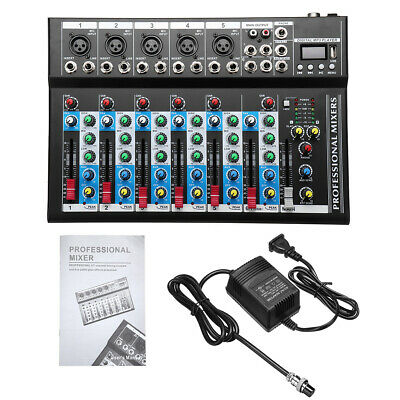4/7 Channel bluetooth Studio Stereo Audio Mixer Mixing USB Console Live KTV 48V