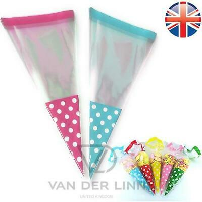 *UK Seller* Large Polka Dot Cellophane Cone Bags Twist Ties Party Sweet Cello