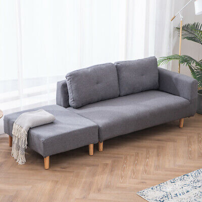 Pleasing Universal Grey 2 Seater Sofa Bed Retro Chaise Couch Wooden Caraccident5 Cool Chair Designs And Ideas Caraccident5Info