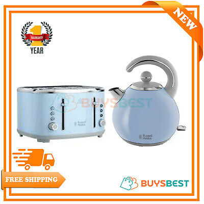 Russell Hobbs Kettle Set 1.5L & 4 Slice Toaster Set Bubble Kitchen Set In Blue