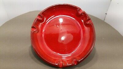 Blue Mountain Pottery Vintage 9.5 diam Ashtray in Red with label