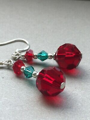 Art Deco Faceted Cherry Red Glass Crystal Bead /& 925 Sterling Silver Necklace