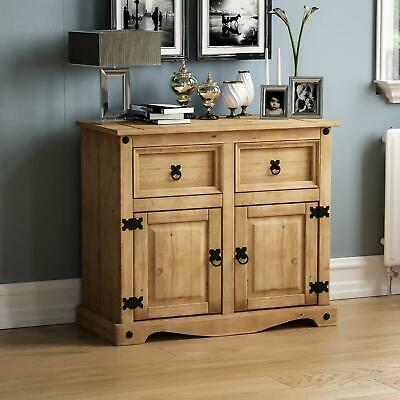 Corona Sideboard 2 Door 2 Drawer Mexican Solid Waxed Pine Cabient Furniture Unit