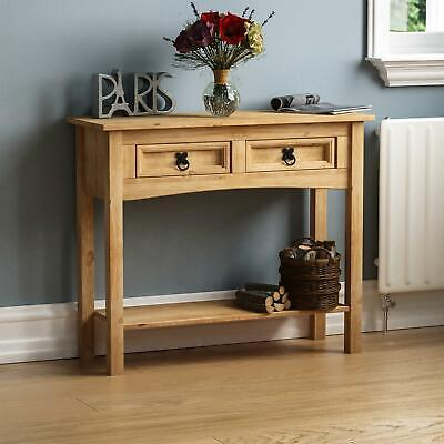 Corona Console Table Shelf 2 Drawer Storage Living Room Hallway Solid Pine Unit
