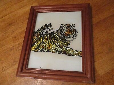 Tiger  & cub gold leaf art work hand painted   home decor vintage 1997 10 x 12