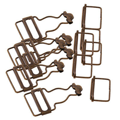 Set of 6 Bronze Dungaree Fastener Overall Clips Brace Buckles Adjuster 32mm