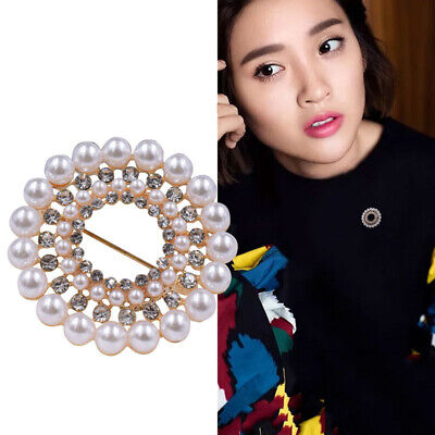 Fashion Elegant Gold Sliver Plated Simulated Pearls Flower Brooch Women Gift N7