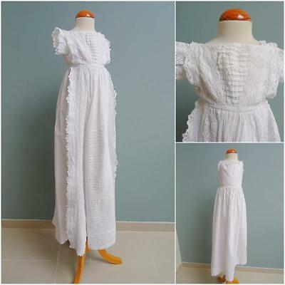 Antique Christening Dress Gown Petticoat Embroidered Whitework Victorian c1880