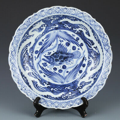 """12"""" Yuan China antique Porcelain Blue & white handcarved Dragon and fish plate"""
