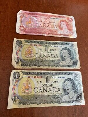 Lot Of 3 1973 1974 Bank Of Canada 1 One & 2 Two Dollar Bills Bank Notes