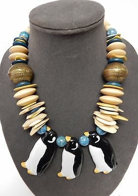 """Penguin Necklace Hand Carved Wood Brass Balls Beads Chunky 20"""" Vintage RETRO"""
