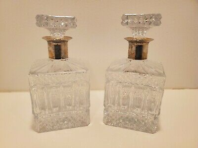 """Pair Set of 2 Antique Square Crystal Glass Whiskey Bar Decanters & Stoppers 8.5"""""""