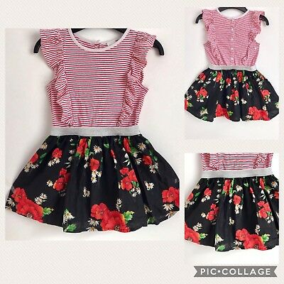 Little Girls Toddlers Beautiful NEXT Dress Floral Frill 3 Year Lined 100% Cotton