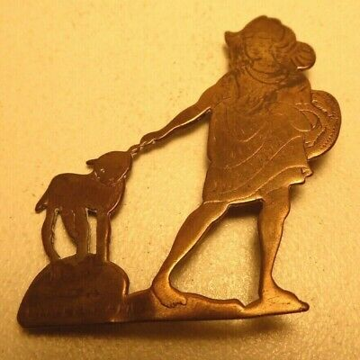 Antique Brass Brooch Pin Badge - Mary Had A Little Lamb