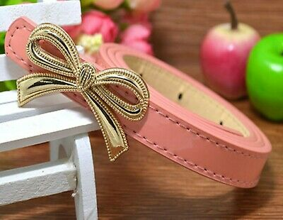 Girls Kids Children Teen Pink Bow Synthetic Leather Buckle Slim dress Waist Belt
