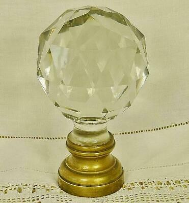 Superb Antique French Facetted Crystal Stair Newel Post Finial Boule D' Escalier