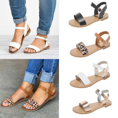 Womens Leopard Summer Flat Open Toe Sandals Ladies Gladiator Ankle Strap Shoes
